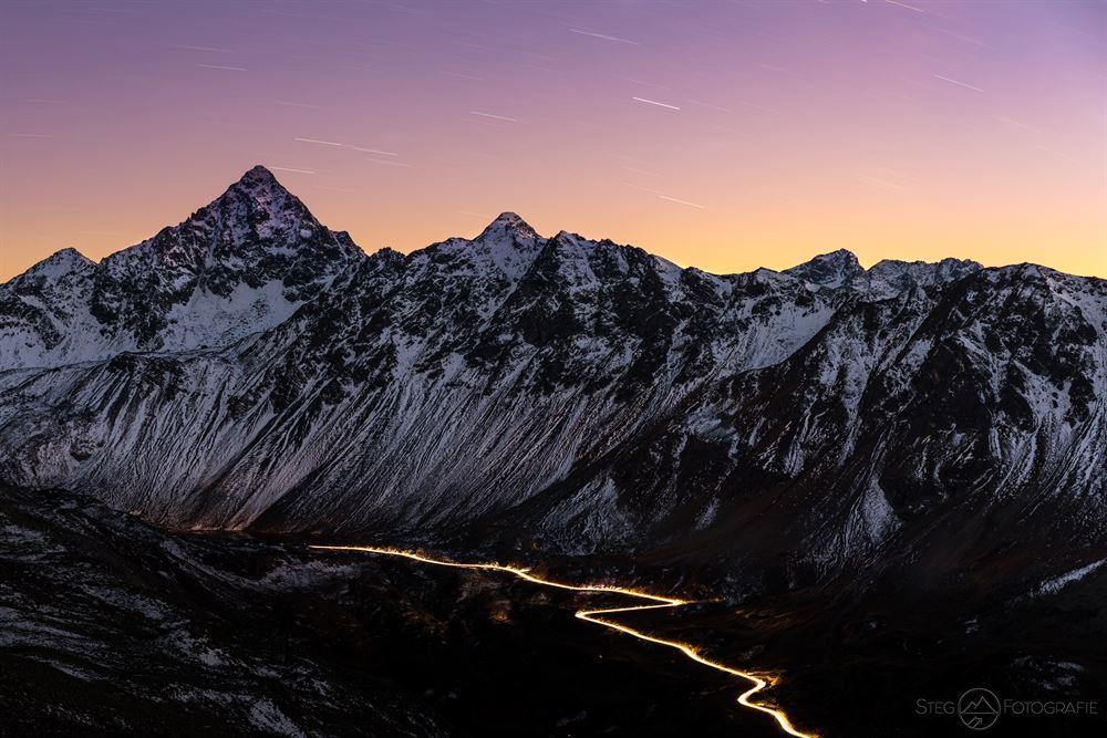 Abend, Schwarzhorn, Flüela, Pass, Graubünden, Schweiz, Herbst