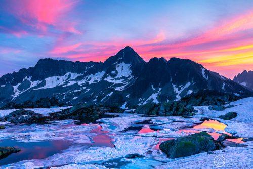 Hexensee, Lai dalla Stria, Graubünden, Schweiz, Abend, Himmel, Glühen, Schnee, Eis, Herbst, Winter