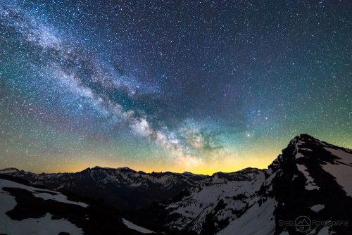 Milchstrasse, Sterne, Nacht, Glarus, Nachtaufnahme, Foto, Fotograf, Schweiz, Kanton, Berg, Schnee, Fels, Galaxie